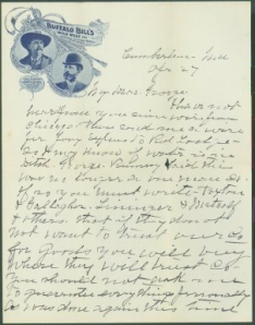 Page 1 of Letter from Buffalo Bill to George T. Beck, April 27, 1896.