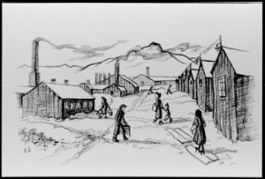 Drawing of women walking between huts in the Winter, from Estelle Ishigo Photographs