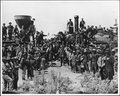 The Golden Spike Ceremony celebrating the joining of the Central Pacific and the Union Pacific railways at Promontory Summit, Utah, May 10, 1869.