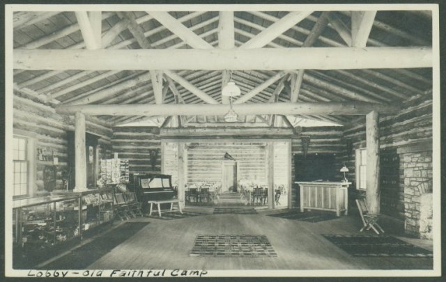The lobby of the Old Faithful Camp Lodge, Arthur Edward Demaray papers, Collection #4031, Box 30. University of Wyoming, American Heritage Center.