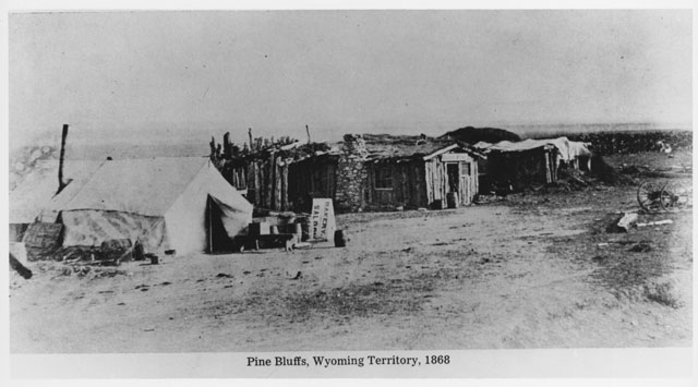"At Pine Bluffs, 1868. Pine Bluffs was the easternmost Union Pacific Railroad Station in Wyoming. This is one of the images from the ""Hell on Wheels"" exhibit. (Clarice Whittenburg papers)"