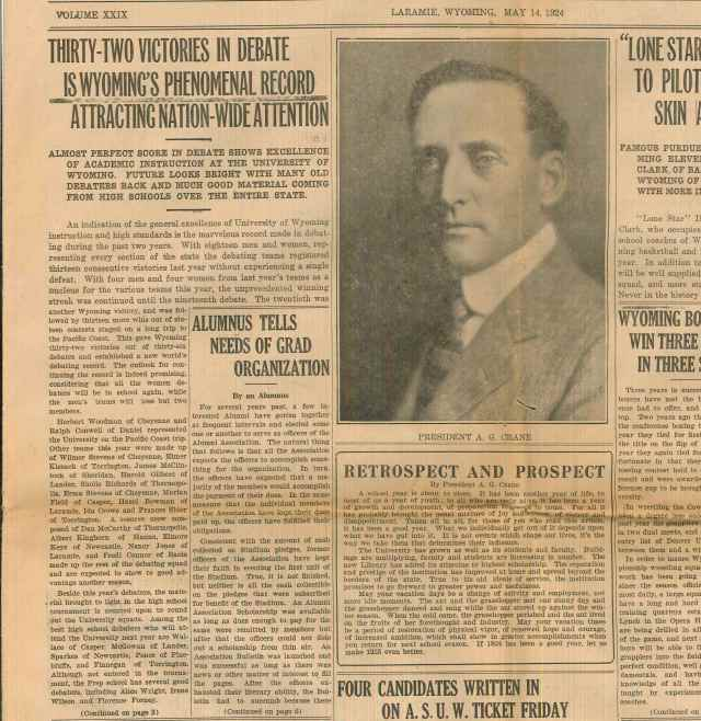 An article from the May 14, 1924 edition of the Branding Iron that discusses Stevens' debate performance.  Wilmer Stevens papers, Box 1, Folder 3.