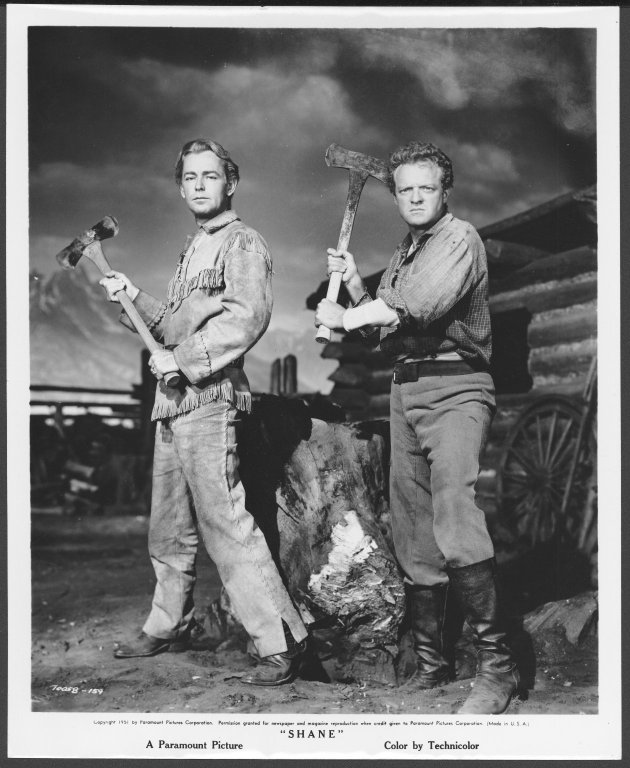 "Alan Ladd (left) and Van Heflin posing for pictures from the film Shane"", 1951, University of Wyoming, American Heritage Center, Jack W. and Louise Schaefer Papers, #430, Box 25, Folder 9."""
