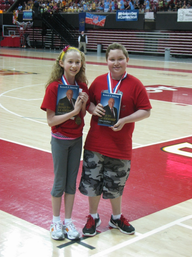 Hazel Homer-Wambeam and Jackson Higgins, just after winning first place in the Junior Group Performance Division!