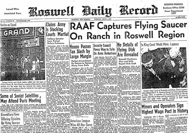 "The ""Roswell Daily Record"" from July 9th, 1947, announcing the discovery of wreckage near Roswell, NM."