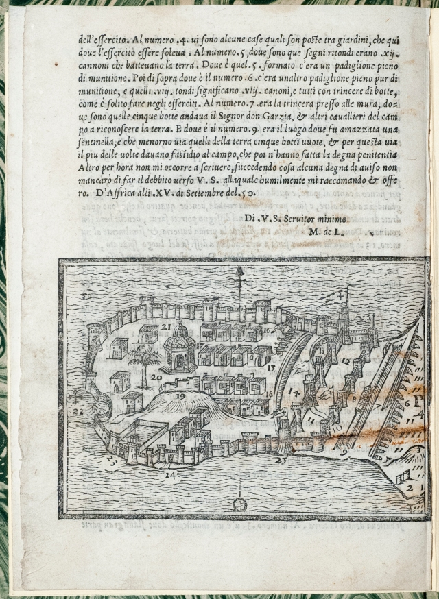 Back page of the pamphlet, containing a woodcut map of the Mahdia fort.