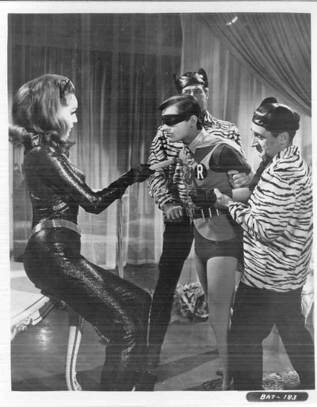 Julie Newmar as Catwoman, holding Robin captive.  Box 18, Folder 6, William Dozier papers, #6851.  UW American Heritage Center.