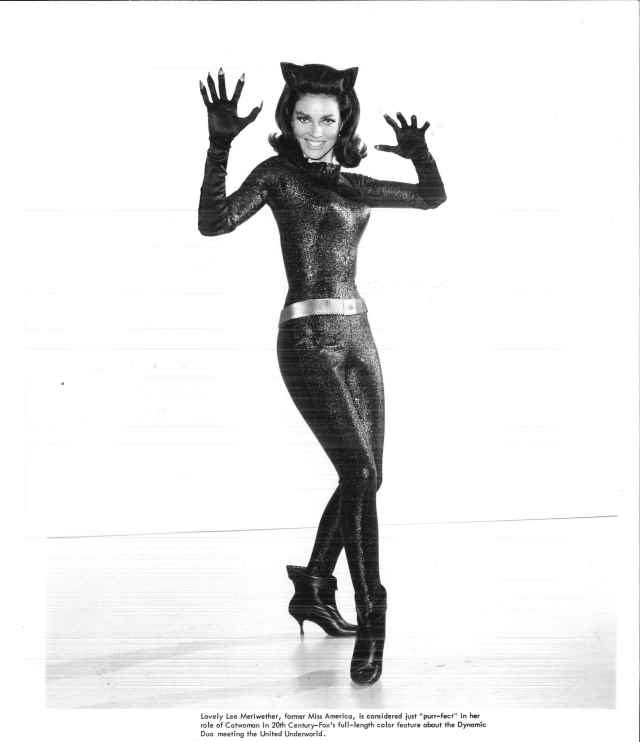 "Lee Meriwether in a promotional photo for the ""Batman"" TV series.  Box 18, Folder 6, William Dozier papers, #6851.  UW American Heritage Center."