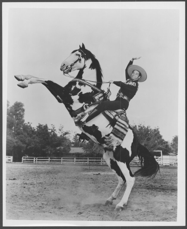 The Cisco Kid (Duncan Renaldo) on a rearing horse,  Duncan Renaldo Collection, #5189, Box 51. UW American Heritage Center.