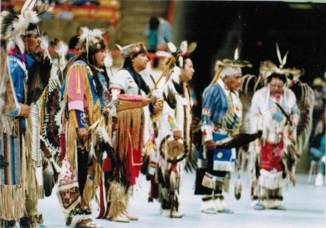 "Caption reads, ""Keepers of the Fire, Spring Powwow,"" 1990, box 1, folder 3"