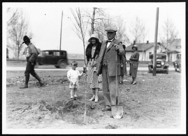 Mr. and Mrs. George Beck planting a tree in the city park in Cody, WY, 1932. George T. Beck papers, #59, Box 31, Folder 4. UW American Heritage Center.