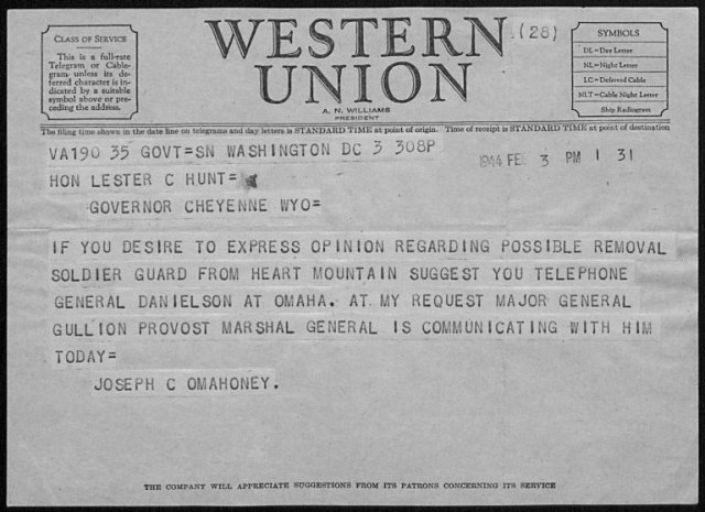 Telegram to Lester Hunt from Joseph O'Mahoney, Lester Hunt Papers, #270, Box 1, Folder 13. University of Wyoming, American Heritage Center.