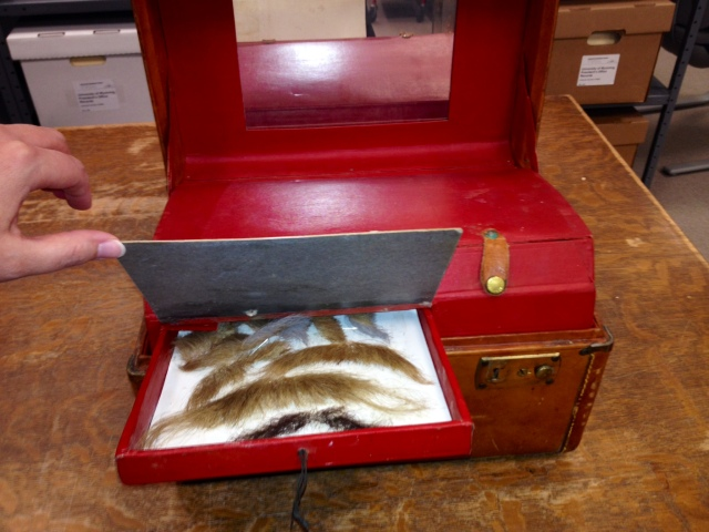 Wally Wales's make-up kit, complete with mustache drawer. Wally Wales papers, #5643, Box 7.  UW American Heritage Center.