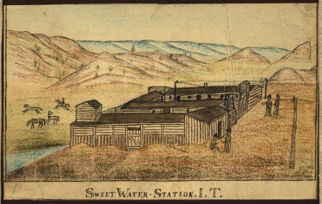 Sweet Water Station I.T., Military Posts and Telegraph Stations on the Oregon Trail in Wyoming, 1863. Grace Raymond Hebard, #400008, Box 5, Folder 41, University of Wyoming, American Heritage Center.