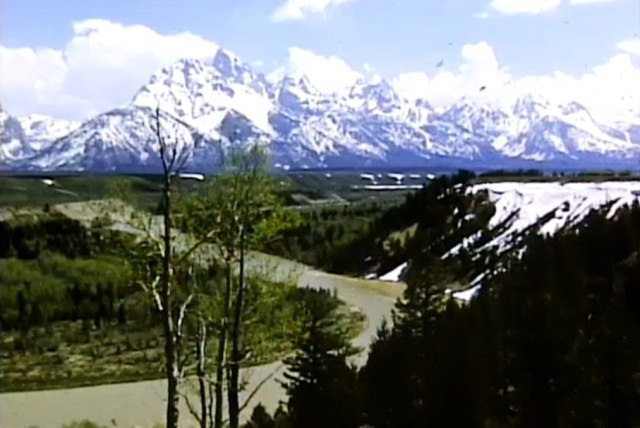 Still image of Grand Tetons from Hendrick Point in the Snake River Valley. Murie Family Papers, #11375, Box 37. University of Wyoming, American Heritage Center.