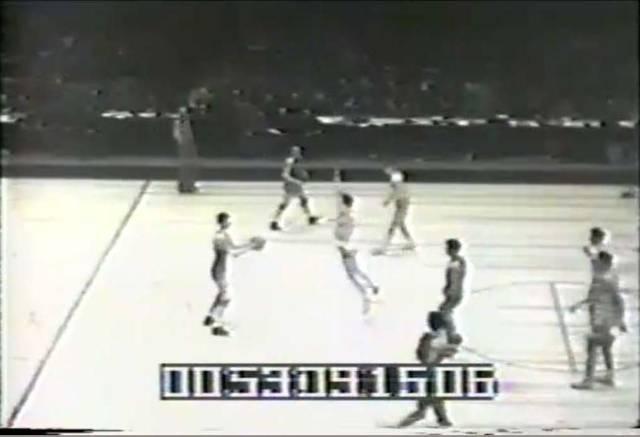 Film still of 1943 NCAA National Basketball Championship Team (University of Wyoming vs. St. John's). University of Wyoming Intercollegiate Athletics Records, #515001, Boxes 266-267.