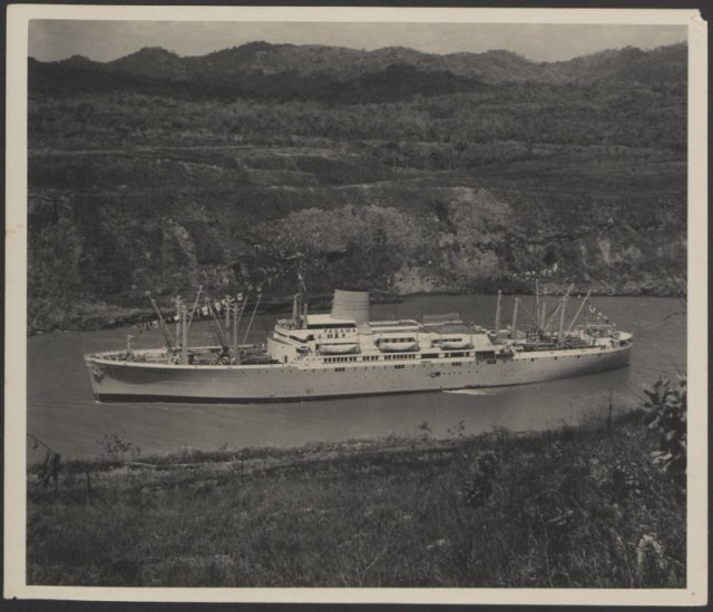 A ship in the Canal. Eleanor McIlhenny papers , #7704, Box 3. University of Wyoming, American Heritage Center.