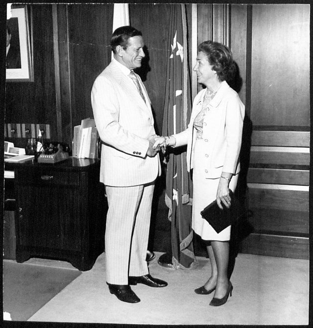 Rose A. Benas with Secretary of Transportation Volpe, 1972. Rose A. Benas papers and Airlanes Magazines, Collection Number 09321, Box 4, Folder 11.
