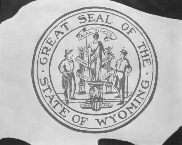 Wyoming State Seal, 1927, University of Wyoming, American Heritage Center, Ludwig Svenson Collection, Negative Number 14535.