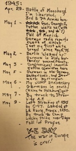 A timeline from the diary of Robert Kenneth Cook describing his experience of the final days of World War II.
