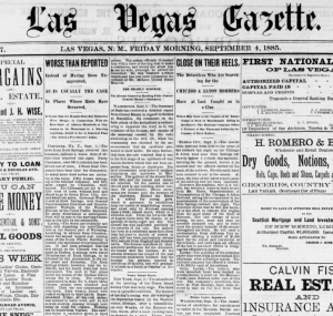 """Front page of the newspaper, Las Vegas Gazette, on September 4, 1885. Second column is a story describing the Rock Spings Massacre in an article titled """"Worse than Reported."""""""
